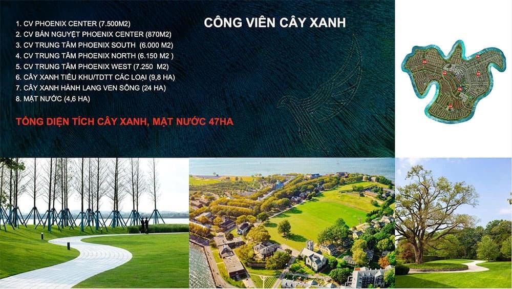 """Mảng xanh """"khủng"""" trongdự án Đảo Phượng Hoàngvới nhiều công viên"""
