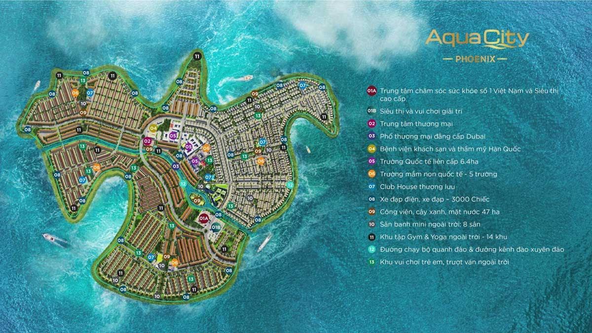 tiện ích nội khu tại phân khu Aqua City Đảo Phượng Hoàng